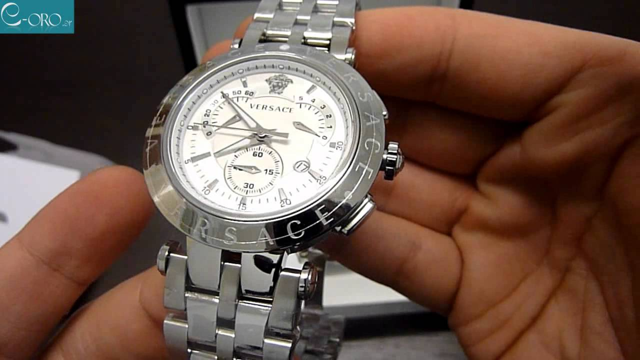 VERSACE V-Race Stainless Steel Chrono Mens Watch 23C99D002S099 - E-oro.gr -  YouTube 631bfe36156