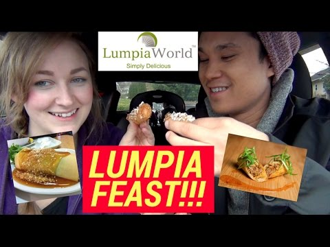 LUMPIA FEAST!!! Lumpia World FOOD REVIEW Filipino American Couple