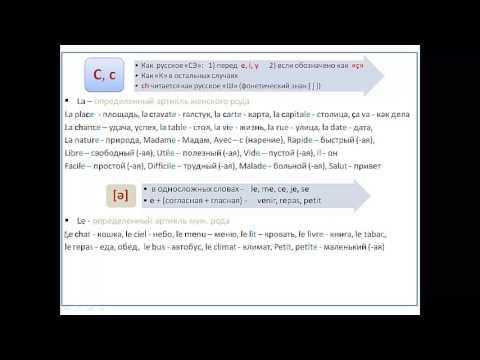 Французский язык, Урок