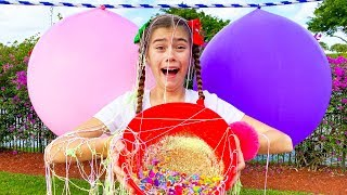 Nastya and Artem pop balls with surprises