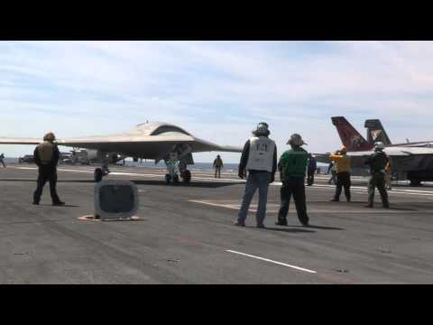 US Navy X-47B UCAS first carrier launch