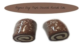 Polymer Clay: Triple Chocolate Roulade Cake (roll Cake)