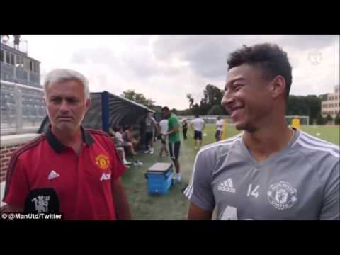 Manchester United manager Jose Mourinho interrupts Jesse Lingard
