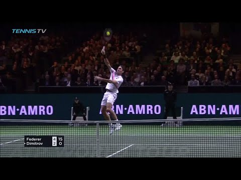 Roger Federer flying smash shot in Rotterdam 2018 Final!