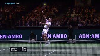 Roger Federer flying smash shot in Rotterdam 2018 Final!