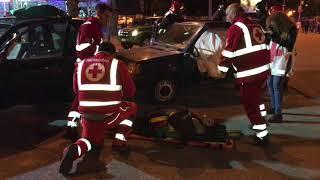 Spettacolare incidente in Largo Torneo, ma era una simulazione per ricordare le vittime della strada