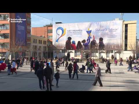 Kosovo Celebrates Independence With Wall Protest