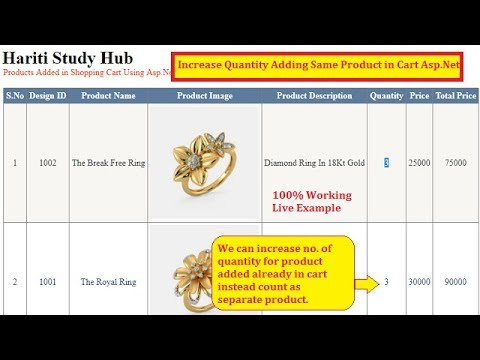 Increase Quantity While Adding Same Product Again in Shopping Cart Asp.Net C# | Hindi | Free Learn