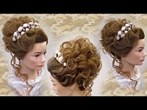 Высокий воздушный пучок Свадебная причёска в романтическом стиле