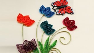 Paper quilling art  How to make Beautiful Quilling colorful  Flowers design with butterfly part 2