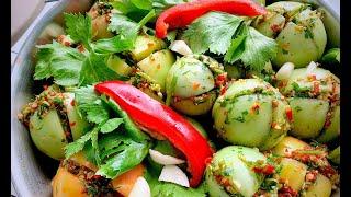 ФАРШИРОВАННЫЕ Зеленью ЗЕЛЕНЫЕ ПОМИДОРЫ Самые вкусные маринованные помидоры