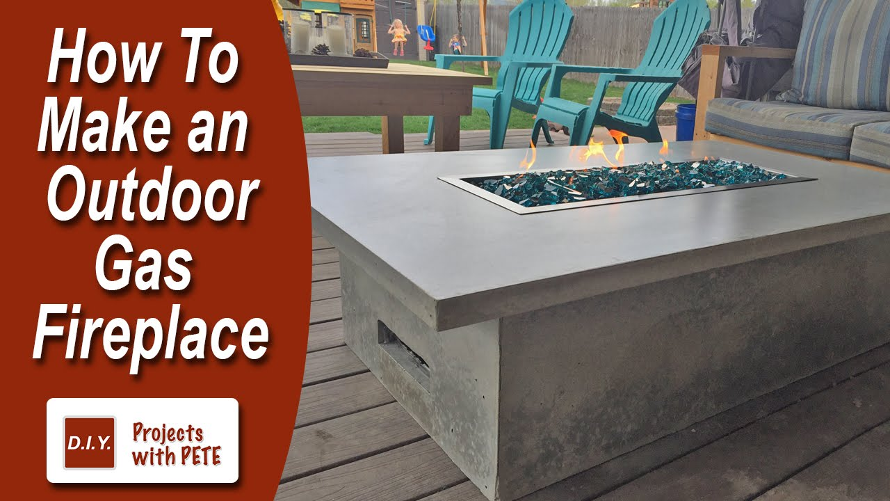 How to Make an Outdoor Gas Fireplace with DIY Pete. This gas fire pit project is made of concrete. Gas fireplaces of this category can cost thousands of doll...