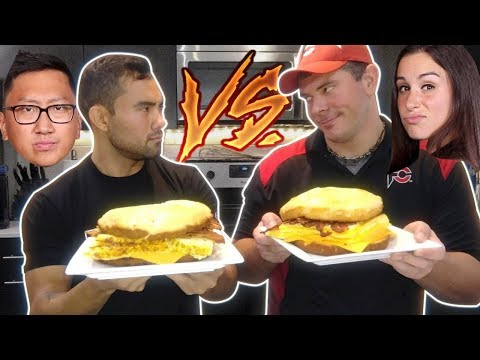 HELLTHY JUNK FOOD'S GIANT McBREAKFAST SANDWICH vs RANDY SANTEL!