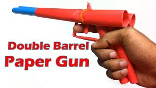 How to Make a Double Barrel Paper Toy Gun that Shoots Rubber Bands - Easy Paper Toys Gun Tutorials
