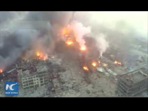 Aerial shots of Tianjin explosion