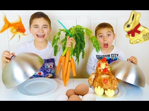 REAL FOOD VS GUMMY FOOD CHALLENGE - Spécial Pâques ! - Easter Edition 🍫