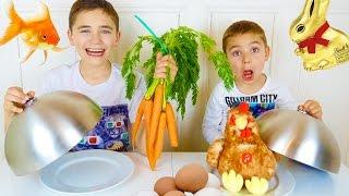 Обычная Еда против Мармелада Челлендж! Real Food vs Gummy Food - Candy Challenge - Easter Edition