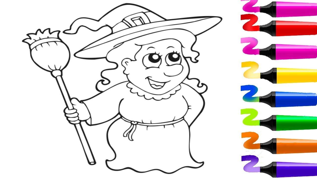 Comment dessiner et colorier une sorcière! Comment apprendre à dessiner pour enfants? - YouTube