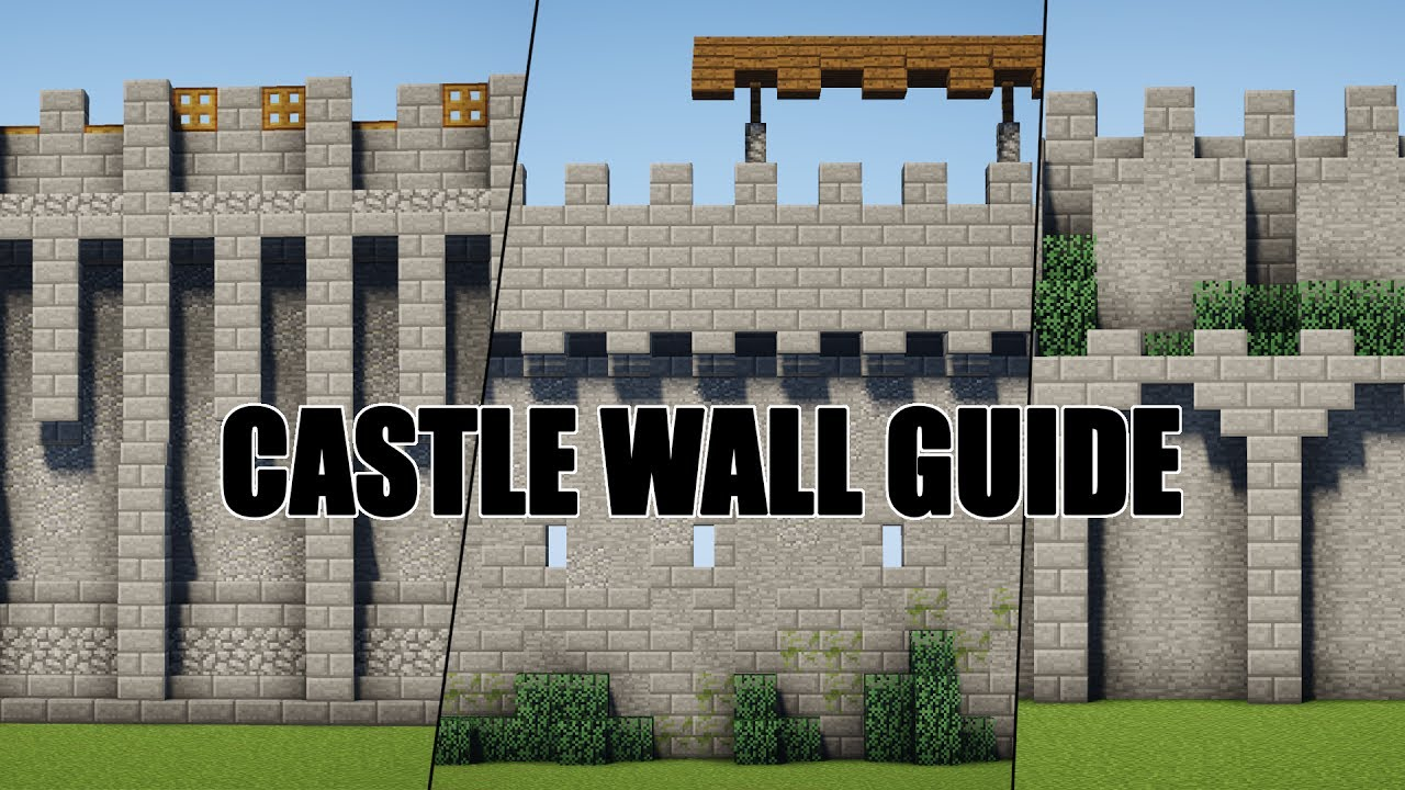 castle wall guide - 5 designs - minecraft - youtube