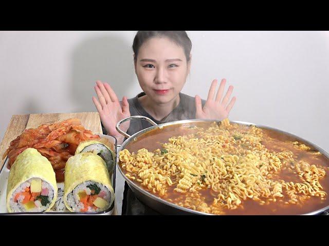 진라면 매운맛 4봉 계란말이김밥 MUKBANG