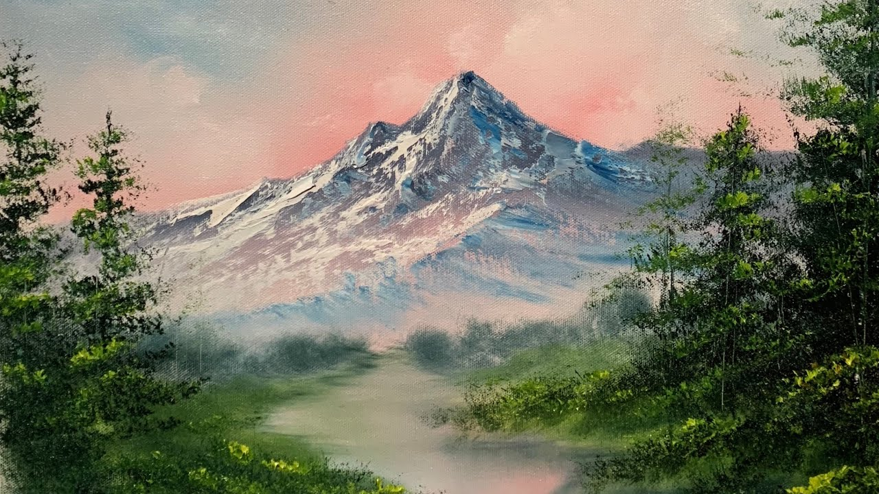 painting sunset mountain landscape