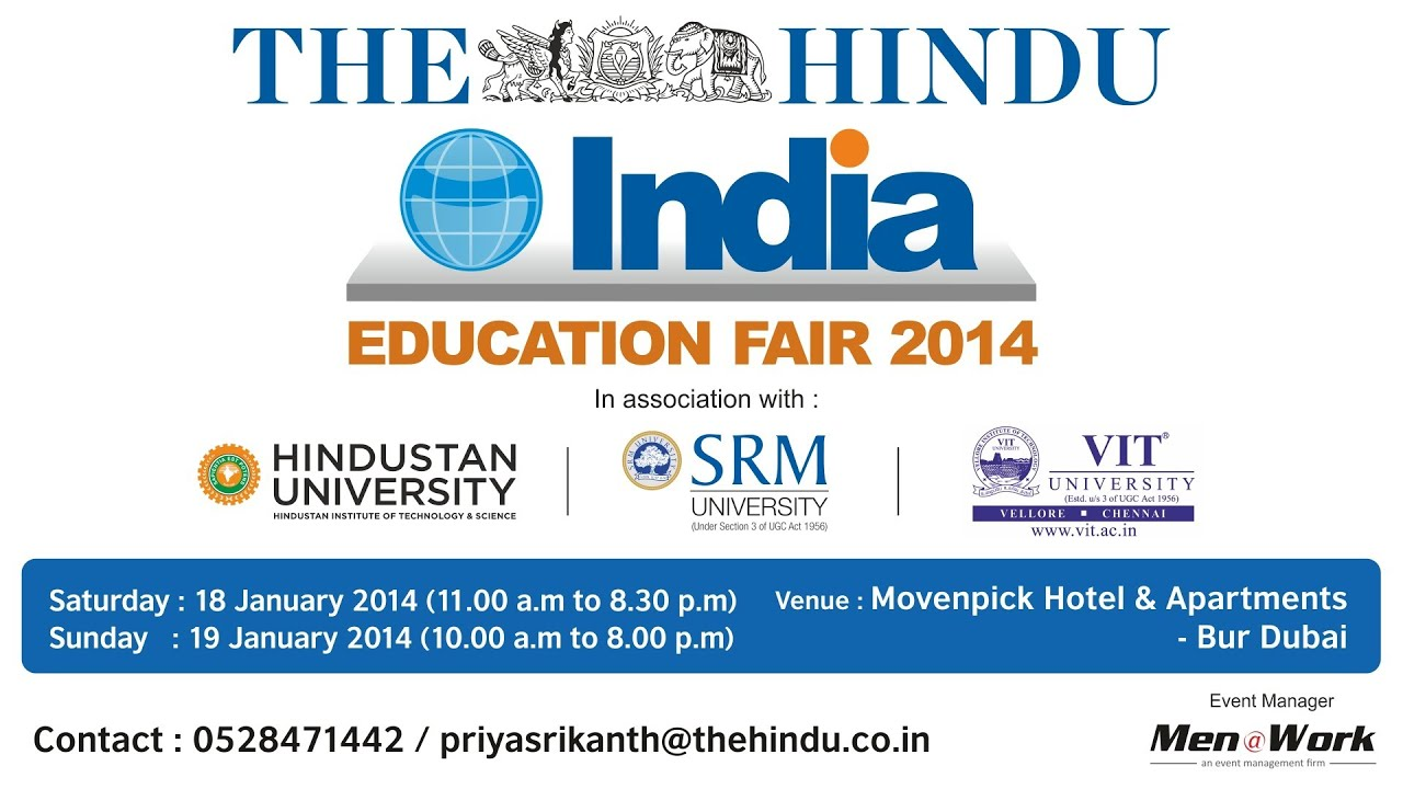 The Hindu INDIA Education Fair 2014 - Dubai - YouTube for Indian Education Advertisement  58lpg