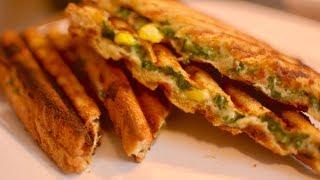 बच्चो के लिए बनाए पालक कॉर्न सॅंडविच | Cheese Corn Spinach Sandwich | Breakfast Sandwich Recipe