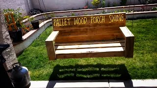 Porch swing made form old pallet wood