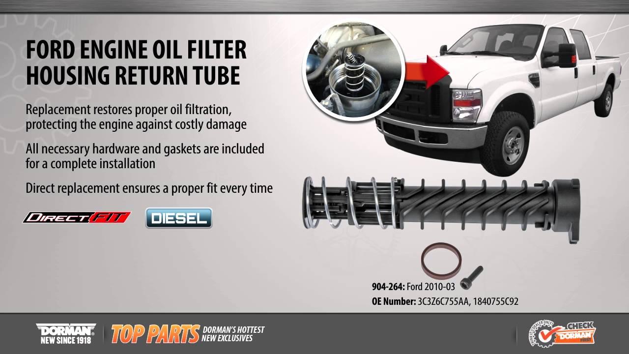 hight resolution of engine oil filter housing return tube