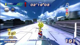 Sonic Free Riders: Metal City (Standard / Free Race) {Super Sonic} [1080 HD]