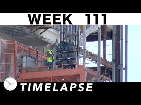 Construction time-lapse with 21 closeups: Week 111: Scaffolding, Cranes, Concrete, more