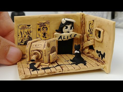 HOW TO MAKE MINIATURE BENDY AND THE INK MACHINE chapter 3 polymer clay DIY Halloween decoration