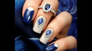 Маникюр с жидкими камнями. Manicure with liquid stones.