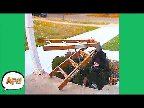 OMG She Took the Ladder DOWN TOO! 😂   Funny Pranks & Fails   AFV 2020