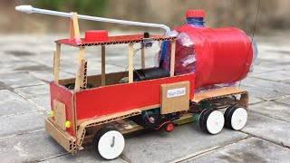 How to Make RC Fire Truck at Home using Cardboard and Popsicle Sticks - DIY Car
