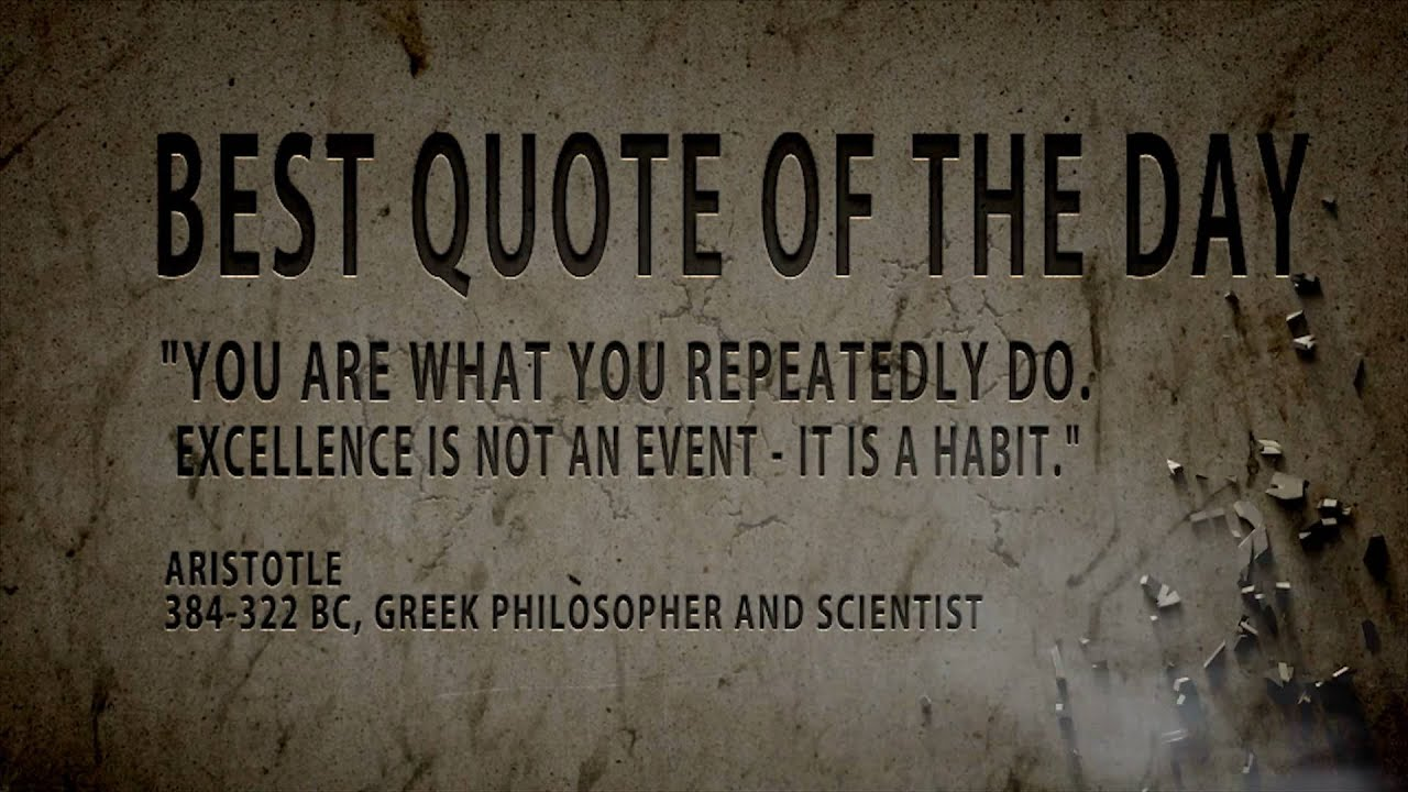 Pftw Aristotle Quote: Quote Of The Day : Aristotle...You Are What...