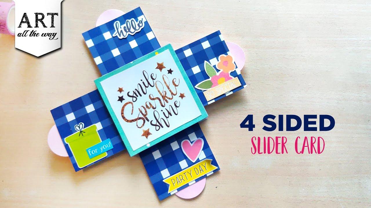 4 Sided Slider Card   Creative Card Design   Quadruple slider card   interactive cards  Paper Crafts