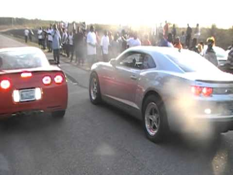 Young Blood Camaro vs Supercharged Corvette Race1