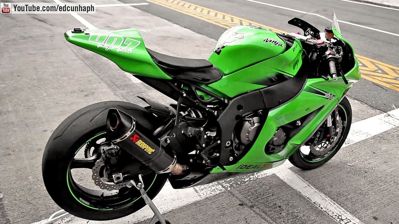 kawasaki ninja zx-10r with akrapovic exhaust - sound, revs