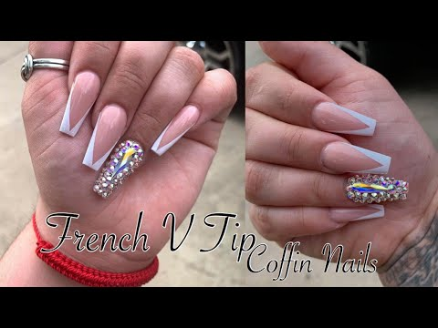 French V Tip Coffin Nails  acrylic Nails Tutorial 💅🏻 Watch Me Work.