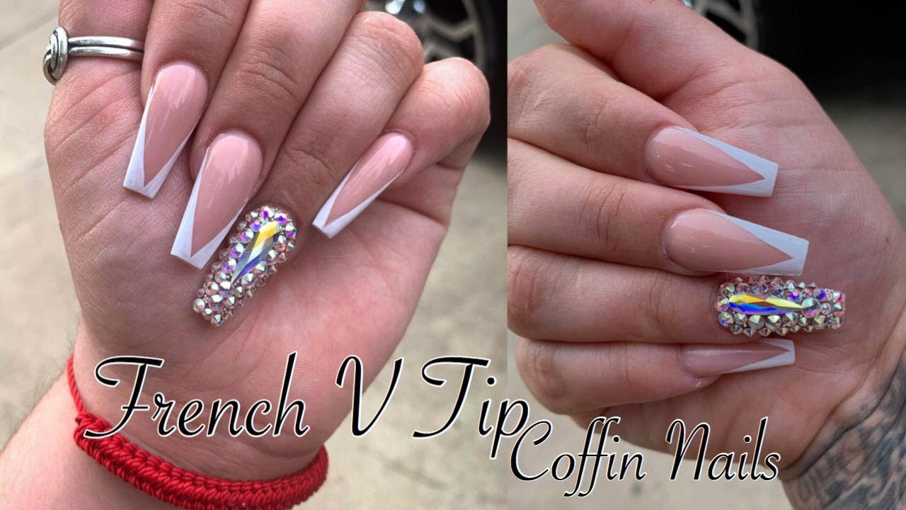 French V Tip Coffin Nails Acrylic Nails Tutorial Watch Me