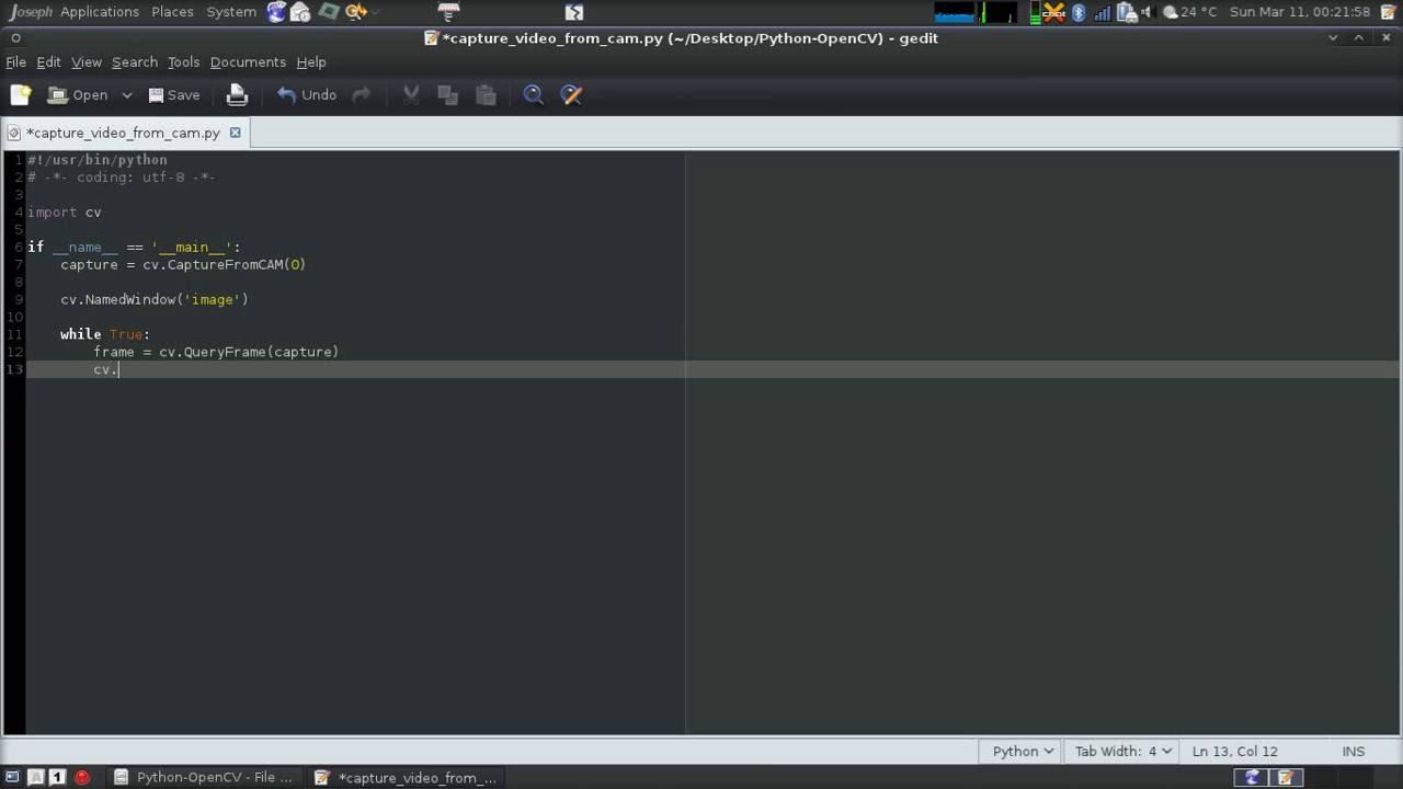 Python - OpenCV - Capture Images From Webcam - cv CaptureFromCAM(0)