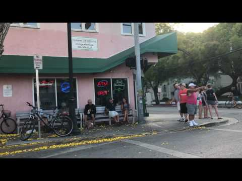 green parrot bar in Key West, and many ciclists on the road