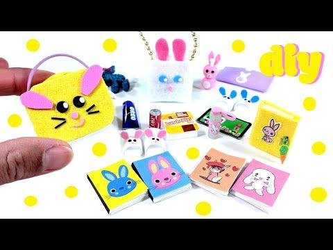 9 DIY Bunny Miniatures - Lunch pail, slippers, purse, diary, & more