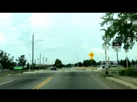 Driving in Detroit, Michigan. Poletown East Area