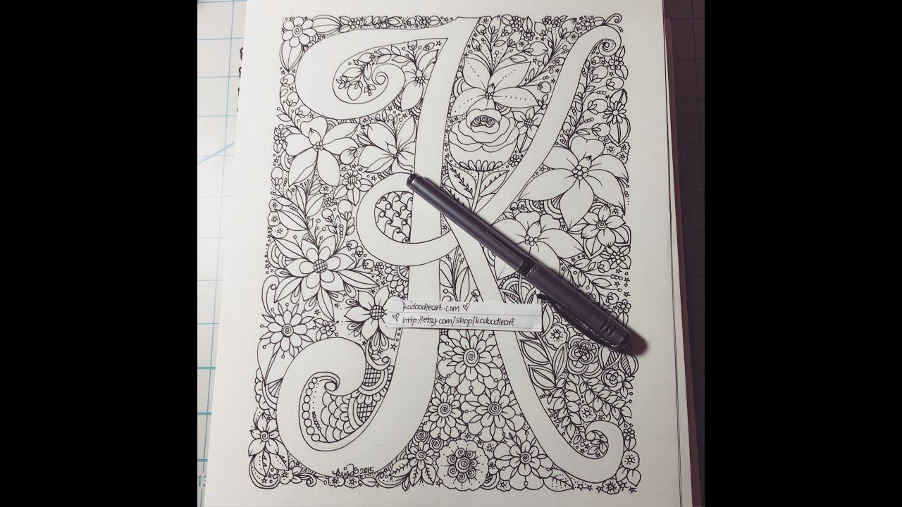 speed doodling letter K alphabet series