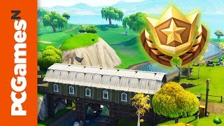 Fortnite: where to search between a covered bridge, waterfall, and the 9th green