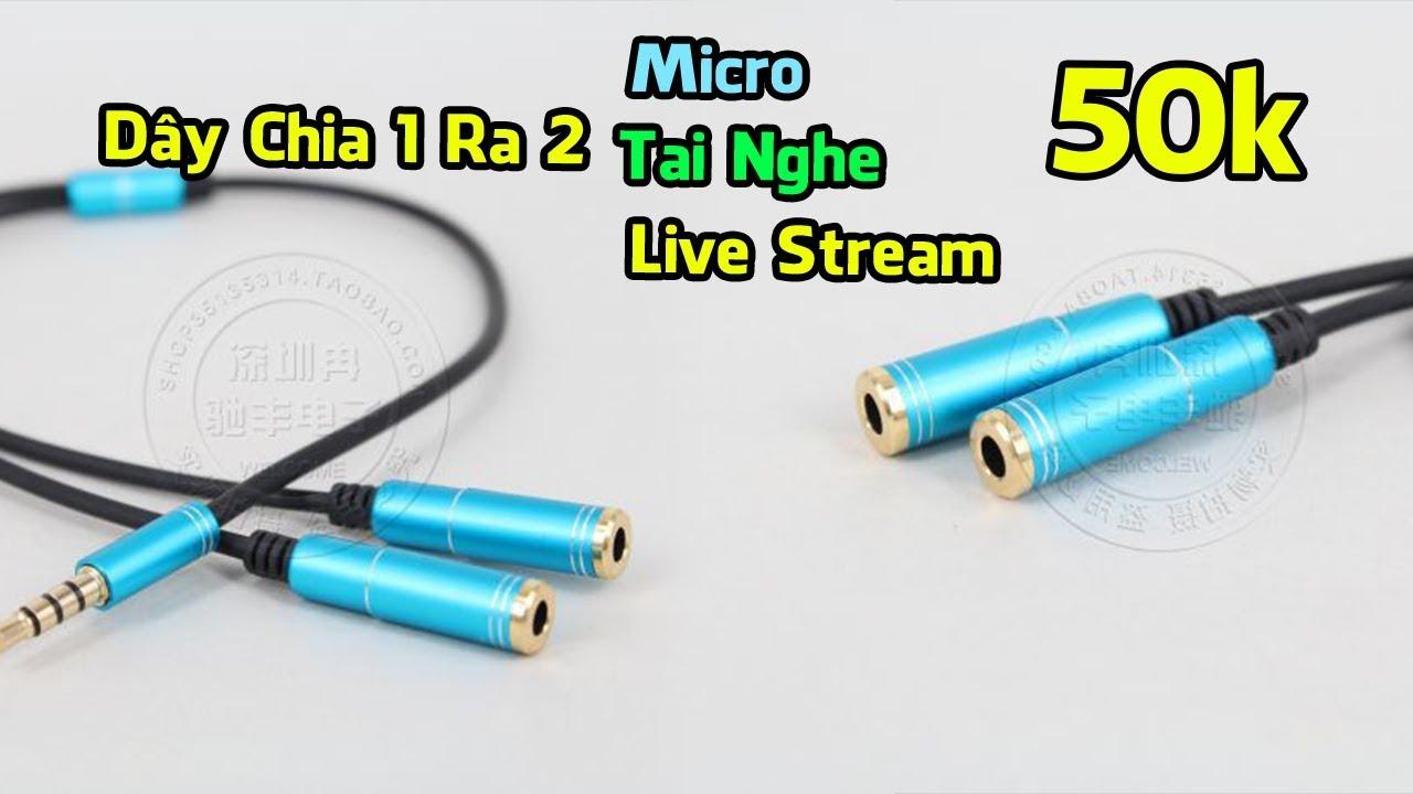 Dây Chia Tai Nghe 1 Ra 2, Dây Chia Micro 1 Ra 2, Dây Chia Live Stream 1 Ra 2 Điện Thoại – 50k
