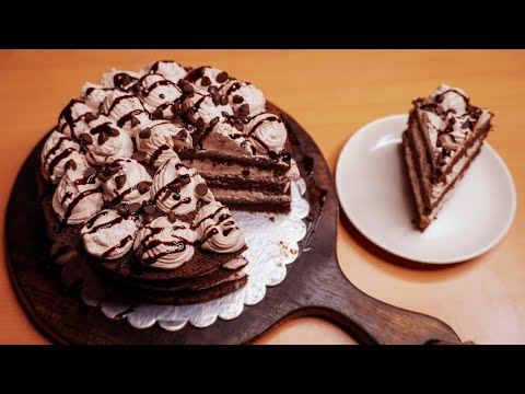 chocolate-cake-recipe-without-oven,-egg-with-easy-&-simple-cake-decorating-process-for-beginners