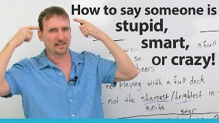 How to call someone STUPID SMART or CRAZY in English